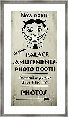 Framed Print featuring the photograph Tillie Photo Booth Sign by Colleen Kammerer