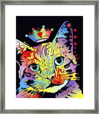 Tilted Cat Crowned Framed Print by Dean Russo
