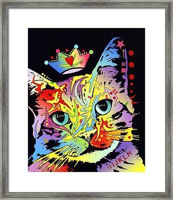 Tilted Cat Crowned Framed Print