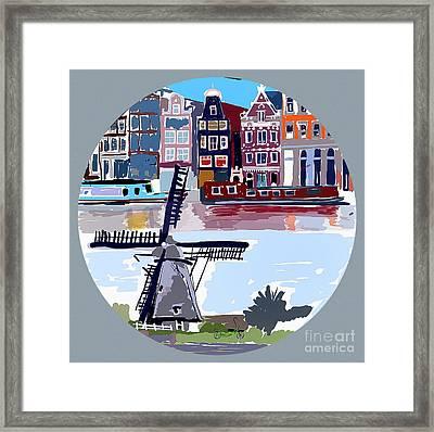 Tilting Windmills Framed Print