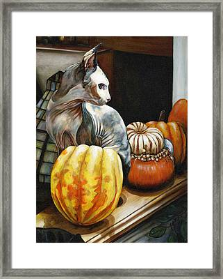 Tim Cat Fluffy Number Onew Framed Print by Leo Malboeuf