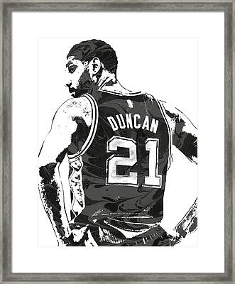 Tim Duncan San Antonio Spurs Pixel Art 2 Framed Print
