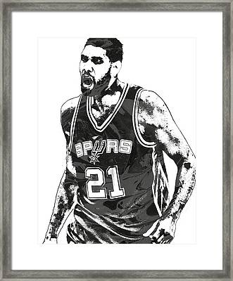 Tim Duncan San Antonio Spurs Pixel Art 3 Framed Print