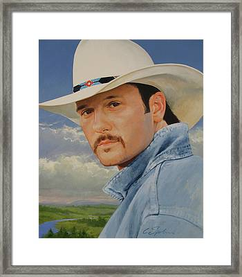 Framed Print featuring the painting Tim Mcgraw by Cliff Spohn