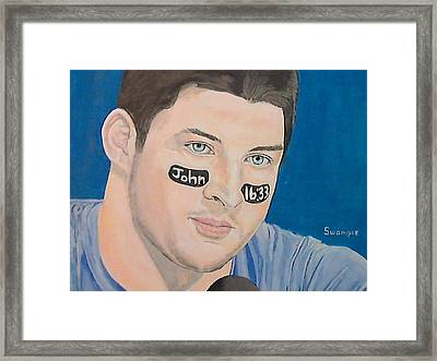 Tim Tebow Framed Print by Richard Retey