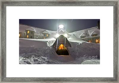 Timberline Lodge Entry Mt Hood Snowdrifts Framed Print by Dustin K Ryan