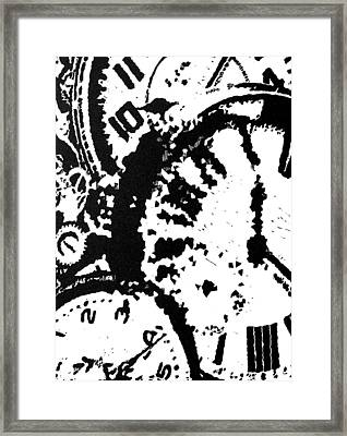 Time -- Hand-pulled Linoleum Cut Framed Print