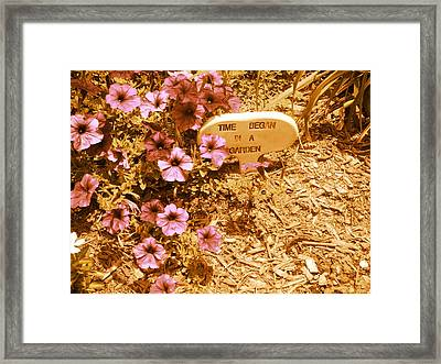 Time Began In A Garden Framed Print by Utopia Concepts