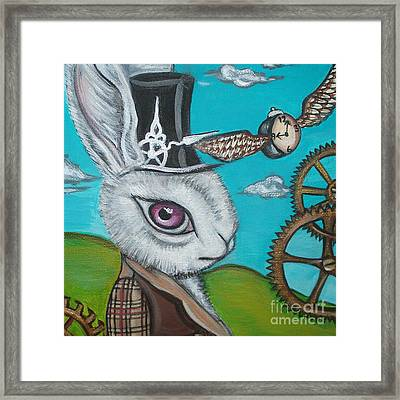 Time Flies For The White Rabbit Framed Print by Jaz Higgins