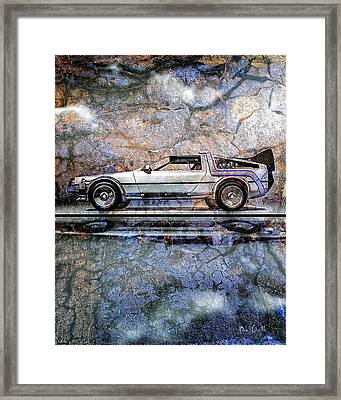 Time Machine Or The Retrofitted Delorean Dmc-12 Framed Print