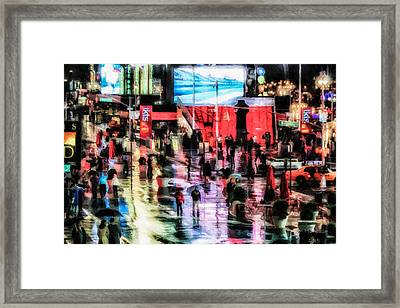 Time Square In The Rain Framed Print