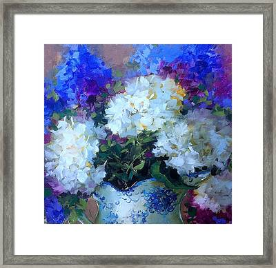 Time To Dream White Hydrangeas Framed Print