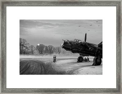 Framed Print featuring the photograph Time To Go - Lancasters On Dispersal Bw Version by Gary Eason