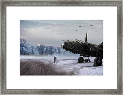 Framed Print featuring the photograph Time To Go - Lancasters On Dispersal by Gary Eason