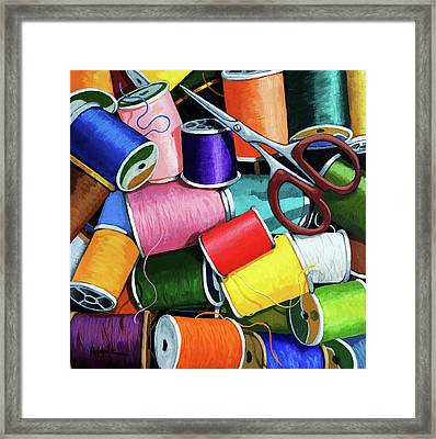 Framed Print featuring the painting Time To Sew - Colorful Threads by Linda Apple