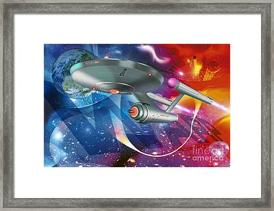 Time Traveling Spacecraft, Artwork Framed Print by Detlev van Ravenswaay