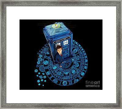 Time Traveller At Arch Of Time Zone Framed Print