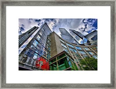 Time Warner Buildings At Columbus Circle Framed Print