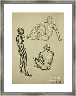 Framed Print featuring the drawing Timed Gestures Exercise by Angelique Bowman