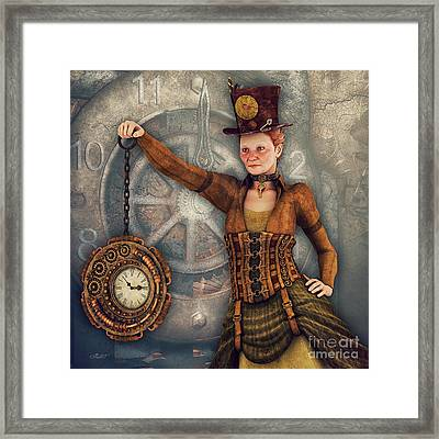 Framed Print featuring the digital art Timekeeper by Jutta Maria Pusl