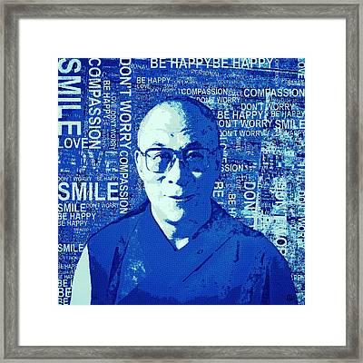 Timeless Wisdom - Retro Pop Art, Blue Framed Print by Stacey Chiew