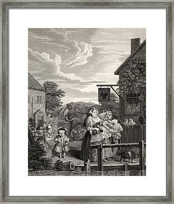 Times Of The Day Evening From The Framed Print by Vintage Design Pics