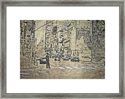 Times Square - That Man Framed Print by Jacob  Hitt