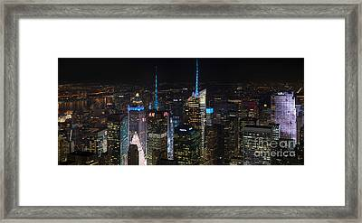 Times Square At Night From The Empire State Building Framed Print by Mike Reid