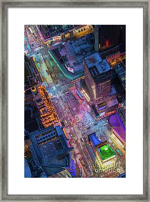 Times Square From Above Framed Print by Inge Johnsson