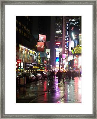 Times Square In The Rain 1 Framed Print by Anita Burgermeister