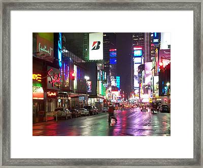 Times Square In The Rain 2 Framed Print
