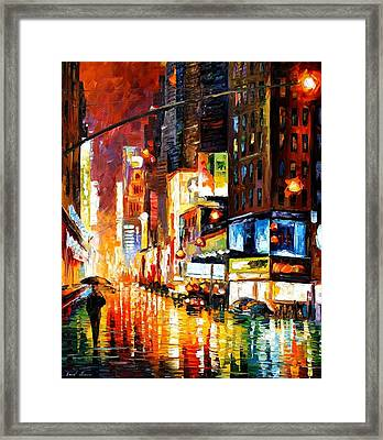 Times Square Framed Print by Leonid Afremov