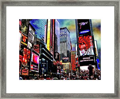 Times Square Framed Print by Menucha Citron