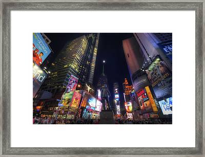 Times Square Moonlight Framed Print by Yhun Suarez