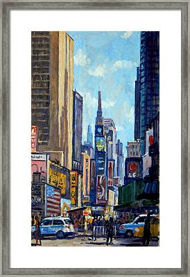 Times Square Morning New York City Framed Print by Thor Wickstrom