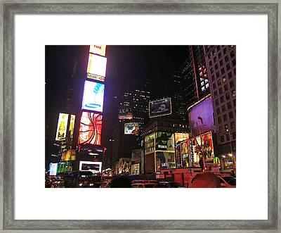 Times Square Night Framed Print by Barbara McDevitt