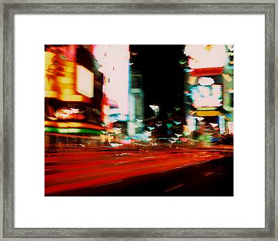 Times Square Painted Framed Print by Brad Rickerby
