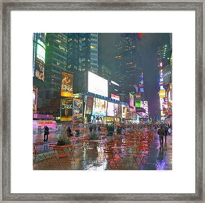 Times Square Red Rain Framed Print by Jeffrey Friedkin