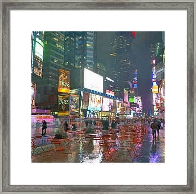 Times Square Red Rain Framed Print
