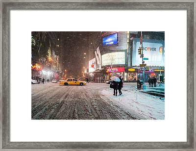 Times Square Snow - Winter In New York City Framed Print by Vivienne Gucwa