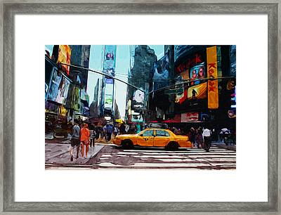 Times Square Taxi- Art By Linda Woods Framed Print by Linda Woods