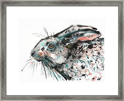 Framed Print featuring the painting Timid Hare by Zaira Dzhaubaeva