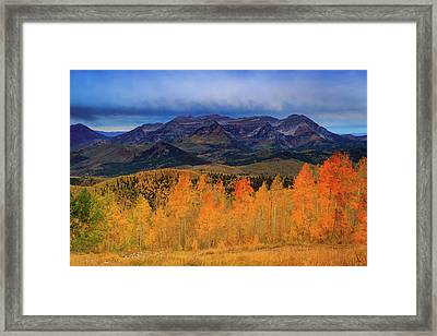 Framed Print featuring the photograph Timpanogos With Golden Aspens. by Johnny Adolphson