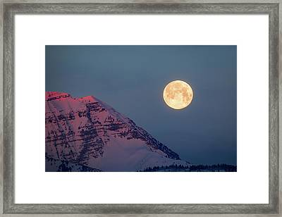 Framed Print featuring the photograph Timpanogos With The Pink Moon. by Johnny Adolphson