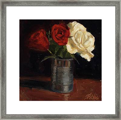 Framed Print featuring the painting Tin Can Love by Billie Colson