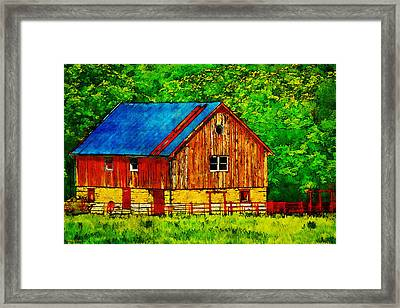 Tin Roof Red Wood And Stone Barn Framed Print by Anna Louise