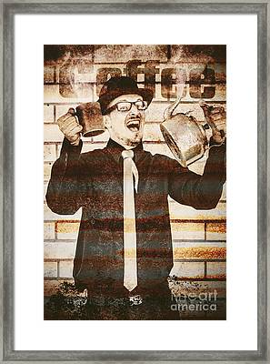 Tin Sign Of An Old Coffeehouse Employee  Framed Print by Jorgo Photography - Wall Art Gallery
