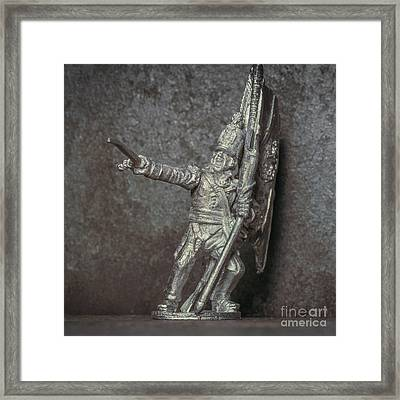 Tin Soldier With Flag Framed Print by Randy Steele