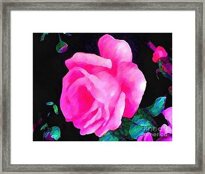Framed Print featuring the painting Tinged Pink Rose by Catherine Lott
