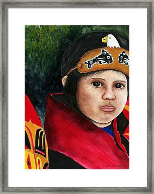 Tinglit Native Girl Framed Print by Mary Gaines